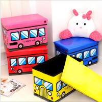 时尚卡通bus巴士折叠收纳凳储物凳 家居防水皮革收纳箱