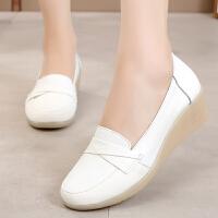 白色护士鞋女软底舒适镂空坡跟平底牛筋底简约单鞋