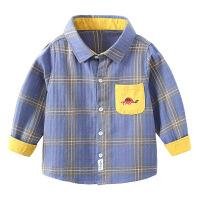 儿童长袖衬衫纯棉秋季童装男童磨毛格子衬衣宝宝翻领上衣
