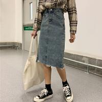 牛仔半身裙女2019韩版新款高腰中长裙学生春秋宽松显瘦百搭包臀裙