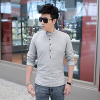 2015新款男士长袖衬衣秋装新款男士衬衫立领衬衫男纯色衬衫
