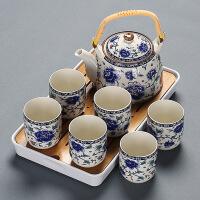【好货】中式提梁壶茶具套装家用复古青花冷水壶陶瓷茶壶简约功夫干泡茶盘