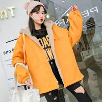 冬季羊羔毛外套女2018新款韩版学生bf宽松加厚棉衣中长款工装 黄色 羊羔毛棉袄