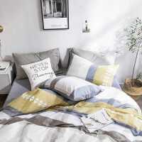 简约四件套全棉纯棉1.8m床单被罩被单被套宿舍单人床上三件套1.5m