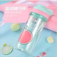 新品双层水果塑料杯 透明耐热儿童塑料杯水杯子饮水杯