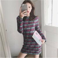 小众针织连衣裙女秋冬山本风气质复古打底的毛衣裙子 图片色