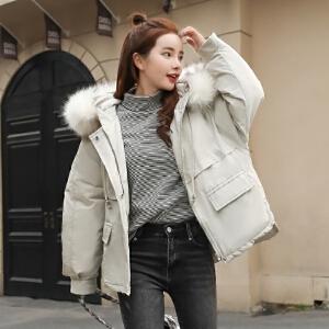 2018新款羽绒服棉衣女 短款韩版大毛领显瘦学生外套