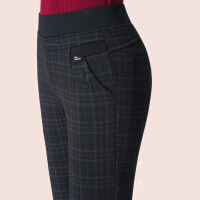 春秋中老年松紧腰高腰弹力妈妈打底裤外穿女士铅笔冬季加绒格子裤