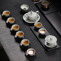 【好店】【好店】龙泉青瓷功夫茶具套装月白冰裂陶瓷三才盖碗茶杯茶壶整套礼盒家用 白色