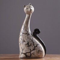 摆设饰品动物创意家居卧室情侣猫一对个性树脂工艺品摆件
