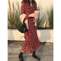 秋冬女装韩版气质红色碎花长裙内搭很仙的过膝雪纺连衣裙法国小众