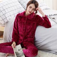 睡衣女秋冬加厚法兰绒睡衣女长袖套装大码成熟家居服珊瑚绒睡衣女