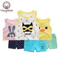 1-3-5周岁儿童夏季宝宝背心套装宝宝夏装无袖婴儿衣服