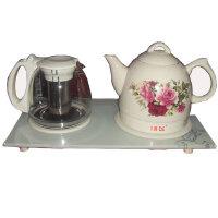 新飞 陶瓷电热水壶套装 1.2升陶瓷电茶壶开水壶+玻璃泡茶壶