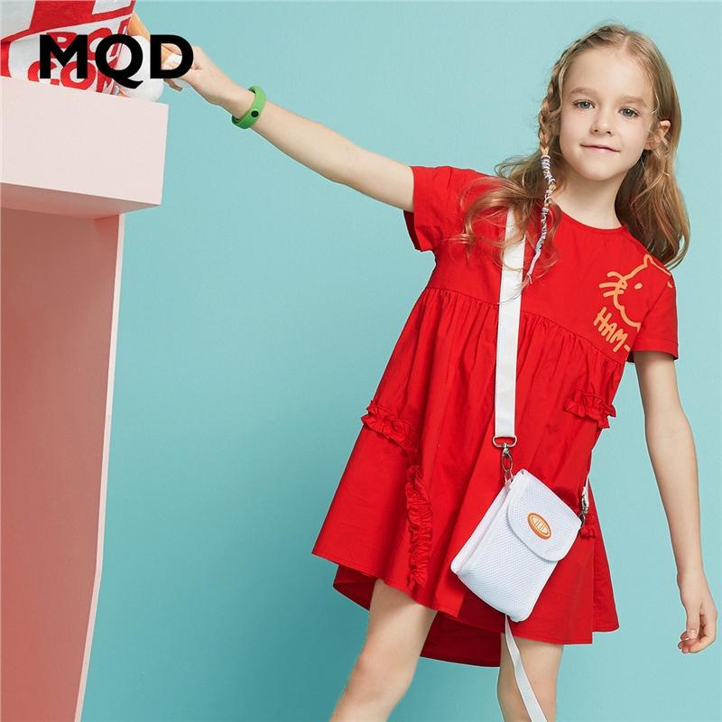 【2件3折:144】MQD童装女童连衣裙2020夏季新款红色高腰印花儿童裙子宽松圆领裙