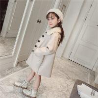 女童大衣童装女童秋冬装洋气呢大衣2018新款韩版中长款加厚时尚时髦外套潮ZQ71蓝