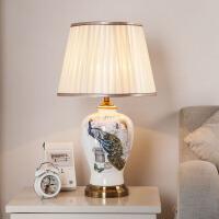 简约现代中式陶瓷台灯卧室床头灯温馨创意美式复古客厅装饰台灯创意装饰陶瓷台灯 陶瓷台灯