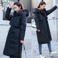 冬季新款女装羽绒棉袄韩版宽松中长款流行外套过膝棉衣女 黑色 M