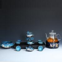 【优选】建盏创意石磨半自动茶具套装家用懒人泡茶器简约陶瓷功夫茶杯茶壶