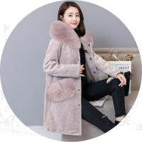 羊剪绒大衣女2018新款冬季中长款皮草外套女士连帽一体狐狸毛
