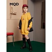 MQD童装女童连衣裙2019冬季新款儿童加绒加厚保暖连帽中长款卫衣
