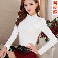 加绒加厚蕾丝衫打底衫女2018秋冬装新款女装韩版小衫长袖修身上衣