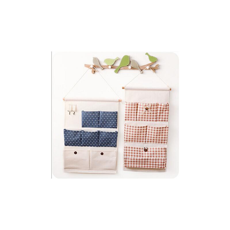 韩版大号简约收纳挂袋 墙上挂式多层整理壁挂棉麻布挂兜 满68元包邮