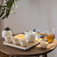 白瓷简约旅行茶具套装 便携式功夫茶壶 茶叶罐茶盘玻璃茶杯家用 白瓷旅行茶具套组+皮包