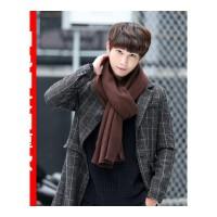 冬季韩版纯色针织毛线围巾男 年轻人加厚长款情侣男士学生围脖潮