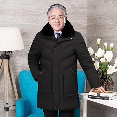 爸爸冬装外套加厚中老年棉衣男中长款毛领棉袄老人冬季保暖装