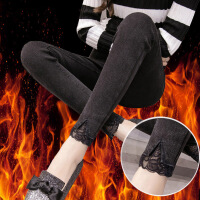 加绒秋冬新款黑色高腰显瘦仿牛仔外穿打底裤子女紧身小脚铅笔