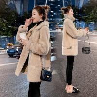 2019冬季一体仿羊羔毛外套女韩版加厚颗粒羊剪绒中长款仿麂皮绒