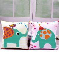 十字绣抱枕情侣象一对卧室可爱卡通动漫动物沙发靠枕汽车靠垫 大象 一对枕套含枕芯