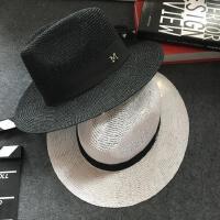 夏季遮阳帽男女可折叠草帽子礼帽沙滩度假帽