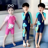 儿童泳衣男童女童连体中大童短袖沙滩男孩宝宝可爱泳衣
