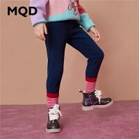 MQD童装女童铅笔牛仔裤2020冬季加绒加厚休闲高弹儿童百搭牛仔裤