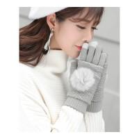 五指棉手套女士秋冬季触屏针织毛线加绒加厚保暖韩版学生可爱半指 均码