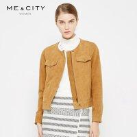 【2件1.5折�r:261,可�B券】MECITY女�b羊皮革短款外套