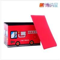 博纳屋 公交车皮收纳凳 大号有盖多功能储物凳 儿童玩具收纳箱 红色-大号B34-28 50*30*35