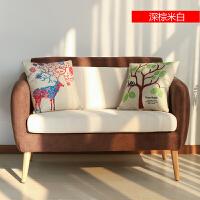 北欧单人双人沙发组合简约休闲布艺沙发小户型现代客厅卧室沙发椅 深棕米白(坐垫可拆洗) 8008 预售5天