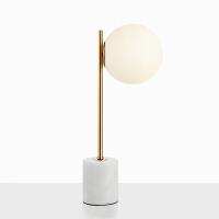 简约现代北欧白色大理石底座玻璃磨砂圆形灯罩设计师客厅台灯