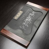 【新品】乌金石茶盘整块石头茶台 家用茶具实木框托盘石材功夫茶海简约
