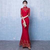 新娘敬酒服旗袍2018新款冬季长款红色鱼尾中式结婚礼服女修身长袖