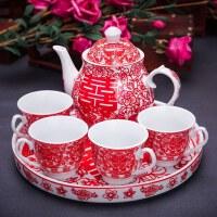 结婚茶壶茶杯套装家用陪嫁婚礼红色婚庆改口陶瓷水壶水杯敬茶
