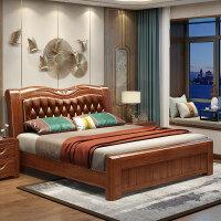【优选】胡桃木床卧室家具皮床新中式全实木床双人床 1.8米高箱抽屉储物床 1800mm*2000mm 箱框结构