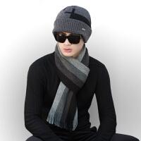 围巾男秋冬季针织毛线帽子年轻人加厚长款情侣男士围脖毛线帽套装