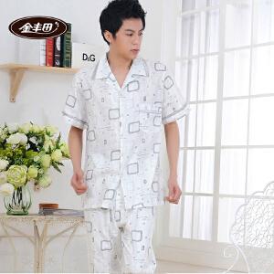 金丰田夏季男士短袖睡衣棉质格子家居服套装1767