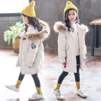 女童棉衣新款儿童秋冬装韩版加厚棉袄大童中长款外套12岁 白色 120cm(120cm(建议身高120cm赠送运费