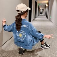 女童牛仔外套童装2020中大童时髦牛仔夹克