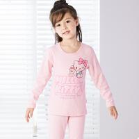 HelloKitty凯蒂猫儿童保暖内衣套装女童纯棉小孩公主加绒宝宝冬季内衣厚KT5157